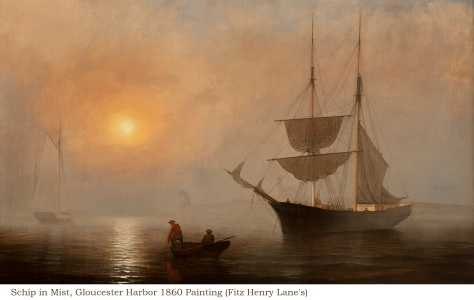 Schip in Mist, Gloucester Harbor 1860 Painting (Fitz Henry Lane's)
